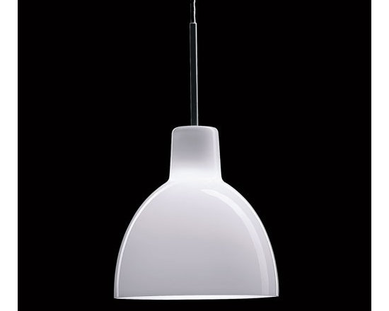 Louis Poulsen - Louis Poulsen | Toldbod Glass Pendant Light - By Louis Poulsen Lighting A/S, 2002The Toldbod Glass Pendant Light design, based on the PH Ellipse reflector, is very precise and suitable for a variety of interior environments.  The fixture emits glare–free light directed primarily downwards, while the opal glass provides a comfortable and uniform illumination. UL Listed. Ships with a white canopy and 12 feet of white PVC power cord. The Toldbod Glass Pendant Light is composed of a brushed stainless steel suspension and hand–blown white opal glass shade.
