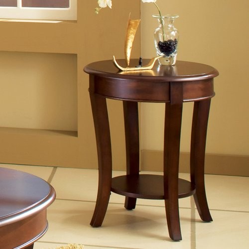 Steve Silver Troy Round Cherry Wood End Table modern-dining-tables
