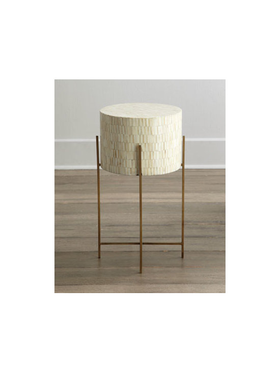 """Regina-Andrew Design - Regina-Andrew Design """"Mesita"""" Drum Table - Modern drum table redefines contemporary style while it brings natural beauty to the room. Handcrafted of brass-plated steel. Covered in hand-laid bone tiles. 14""""Dia. x 25.25""""T. Imported. Boxed weight, approximately 23 lbs. Please note that this...."""