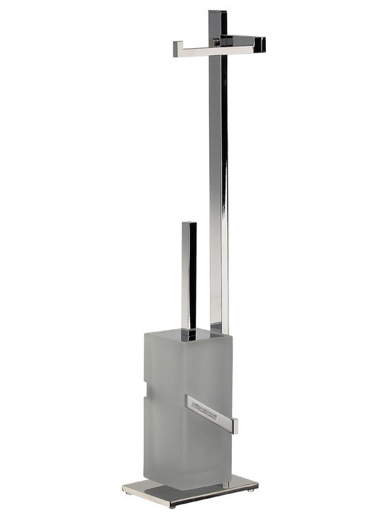 Manillons Torrent - Standing paper holder and toilet brush with swarovski crystal. - Standing paper holder and toilet brush with swarovski elements.