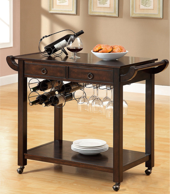 furniture of america dark walnut vintage kitchen cart with wine rack on wheels contemporary. Black Bedroom Furniture Sets. Home Design Ideas