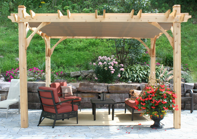 Pergola kit 10x12 with retractable canopy traditional patio