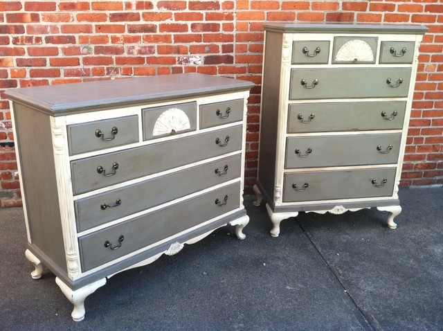 Custom painted dressers french grey antique white eclectic providence by kingston krafts for Antique grey bedroom furniture