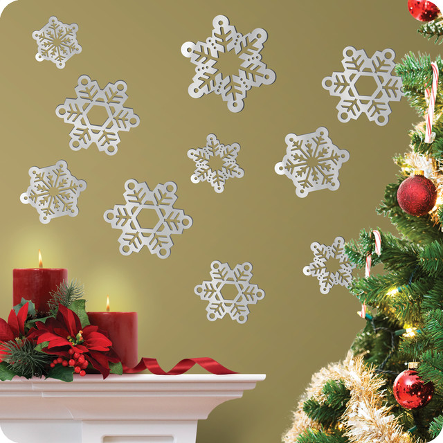 mirrored snowflake wall decals contemporary wall decals san francisco by lot 26 studio inc. Black Bedroom Furniture Sets. Home Design Ideas