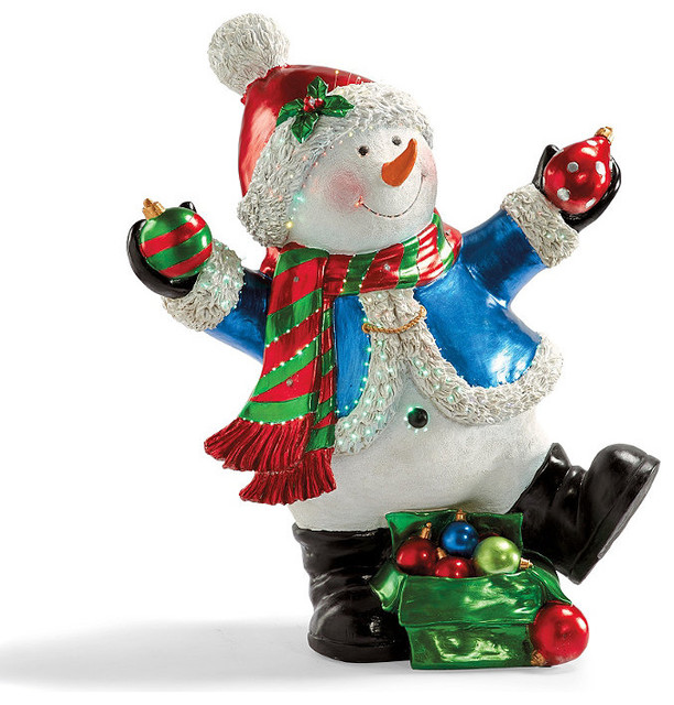 Outdoor life size fiberoptic snowman with blue coat Traditional outdoor christmas decorations