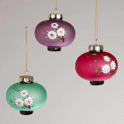 Frosted Glass Plum Lantern Ornaments - Asian - Christmas Ornaments ...