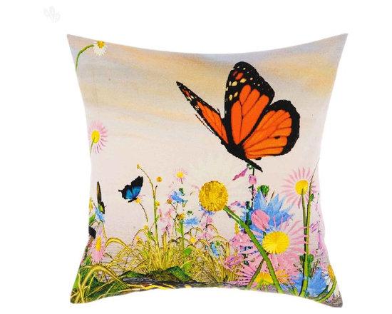 Summer Butterflies Digital Print Cotton Cushion Covers -