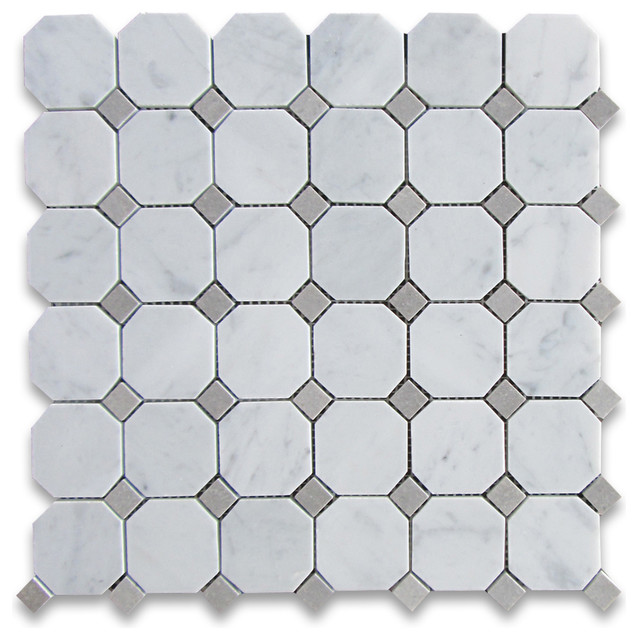Carrara Marble Octagon Mosaic Tile Gray Dots 2 Inch Honed