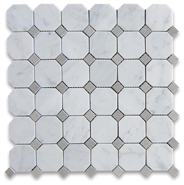 Carrara Marble Octagon Mosaic Tile Gray Dots 2 Inch Honed