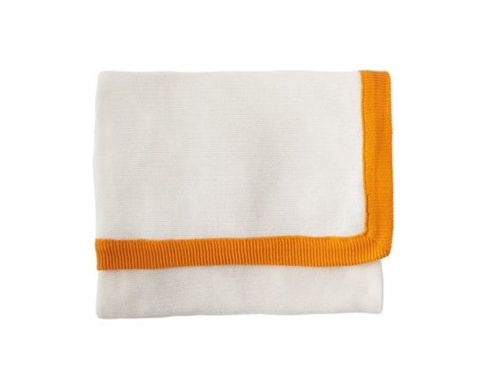 Knit Border Throw  Tangerine/Ivory