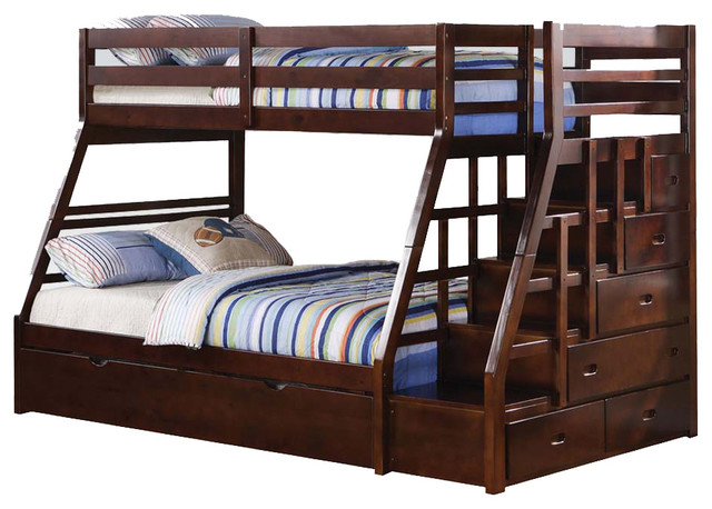 Espresso Wood Stairway Chest Twin Over Full Bunk Bed w/ Trundle Step Stairs contemporary-kids-beds