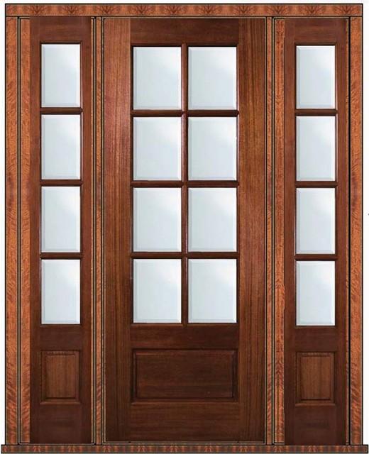 Prehung patio side lights door 96 wood mahogany 3 4 lite 8 for Prehung patio doors
