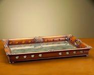 John Richard 4X31X22 Wood Tray W/Eglomise contemporary-platters