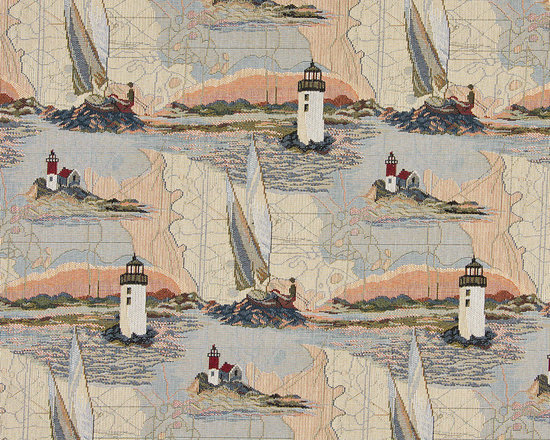 Lighthouses Calm Water Sailboats Themed Tapestry Upholstery Fabric By The Yard - P0610 is an upholstery grade tapestry novelty fabric. This fabric is excellent for cabins, lodges, homes and commercial uses.