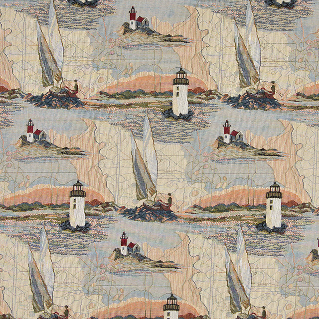 Lighthouses Calm Water Sailboats Themed Tapestry Upholstery Fabric By The Yard tropical-upholstery-fabric