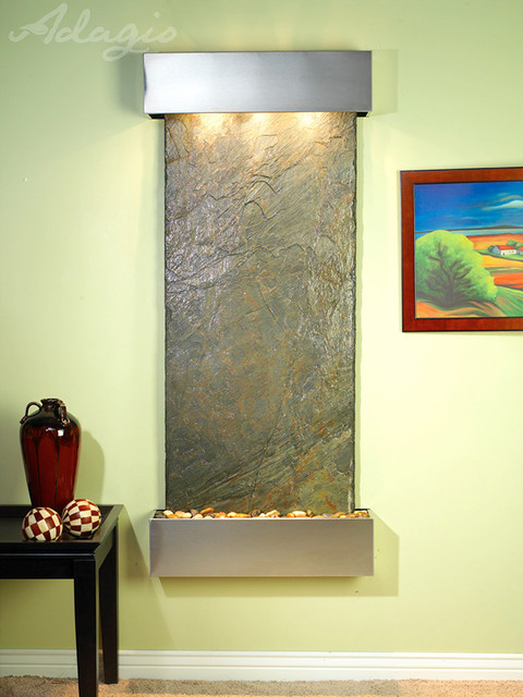 Slate Wall Mounted Water Features - The Inspiration Falls with Green Slate contemporary-indoor-fountains