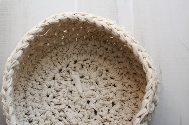 Crocheted Fabric Bowl traditional-toy-organizers