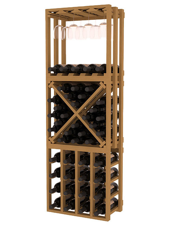Lattice Stacking Cube - 3 Piece Set in Pine with Oak Stain - Designed to stack one on top of the other for space-saving wine storage our stacking cubes are ideal for an expanding collection. This 3-piece set comes with (1) X-Cube, (1) Stemware Cube and (1) 4 Column Cubicle. Use as a stand alone rack in your kitchen or living space or pair with more stacking cubes as your wine collection grows.