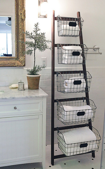 Wood Ladder With 5 Wire Baskets Eclectic Bathroom