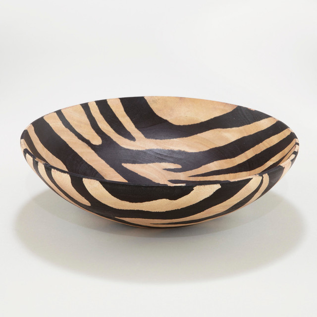 Wood Zebra Bowl Eclectic Serveware By Cost Plus