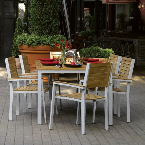 Contemporary Outdoor Dining Sets: Oxford Garden Travira Teak Patio Dining Set