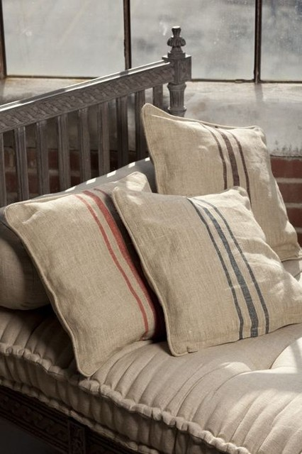 Natural Linen Pillow Covers With Woven Triple Stripe traditional pillows