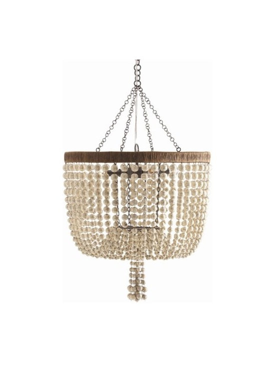 Arteriors Viola 4 Light Iron/Ivory Beaded Chandelier - Viola 4 Light Iron/Ivory Beaded Chandelier