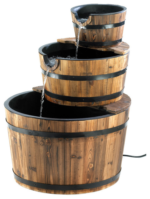 Outdoor Apple Barrel Water Fountain Rustic Outdoor Fountains By Koolekoo