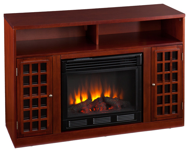 Akita Media Electric Fireplace, Mahogany contemporary-fireplaces