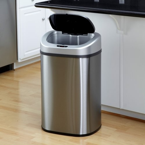 Nine Stars Dzt 80 4 Touchless Stainless Steel 21 1 Gallon Trash Can Contemporary Trash Cans