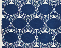 June Leaf Fabric, Navy contemporary-upholstery-fabric