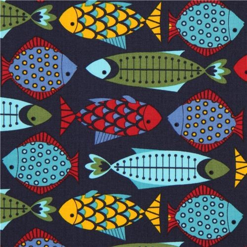 Navy blue timeless treasures animal fabric colourful fish fabric