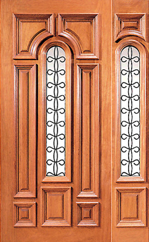 Pre hung mahogany insulated center lite house door one for Insulated front doors for homes