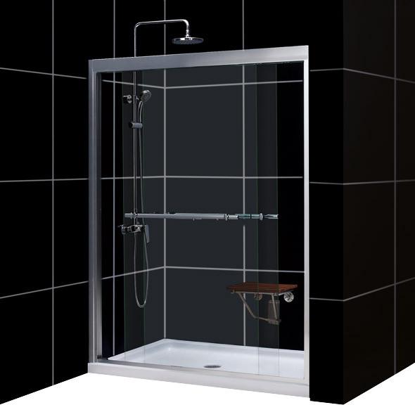 """DreamLine Duet Frameless Bypass Sliding Shower Door and SlimLine 34"""" contemporary-shower-doors"""