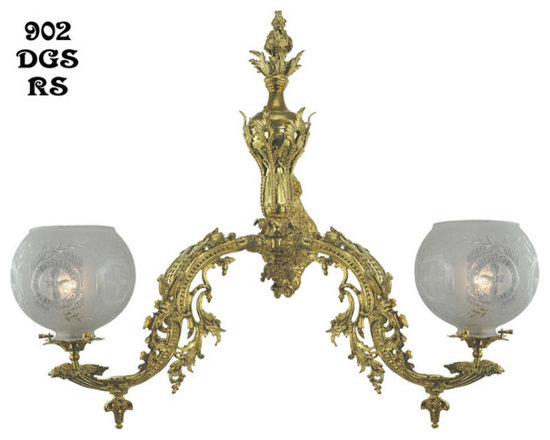 "Victorian Chandeliers - Circa 1857 double sconce by Starr-Fellows. Authentically reproduced 2 5/8"" early gas shade fitters. This sconce is illustrated in the original 1857 Starr-Fellows catalog almost right down to the shades."
