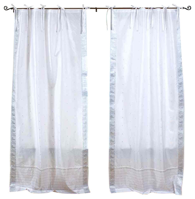 Pair Of White Silver Tie Top Sheer Sari Cafe Curtains, 43