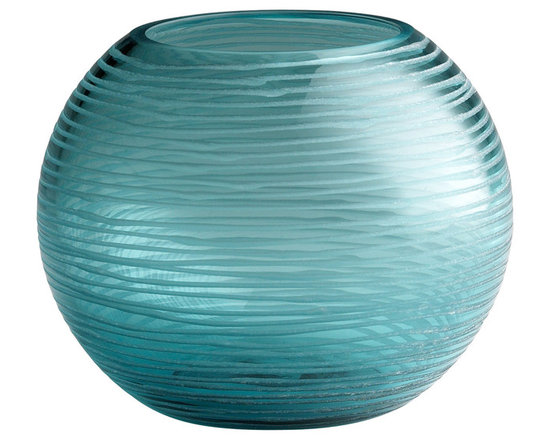 "Cyan Design Small Round Libra Vase in Aqua Finish - Cyan Design presents the Libra Collection's Small Round Vase! With an Aqua finish, this piece's Transitional style will be a great addition to your home's decor. Composed of Glass material. Dimensions: 5"" High. Measures 6"" in Diameter."