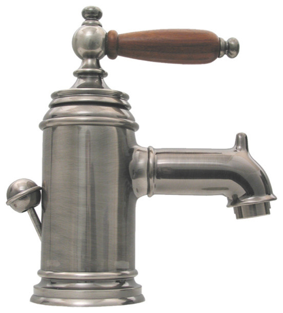 Single Lever Lavatory Faucet w Cherry Wood Handle & Pop up Waste Farmh