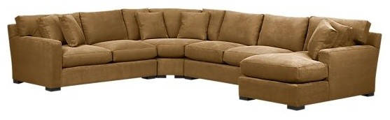 Axis 4 piece right arm chaise wedge sectional for Flexsteel 4 piece sectional sofa with right arm facing chaise in brown
