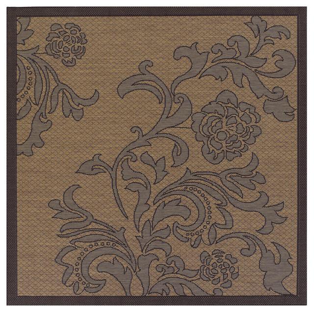 Recife Rose Lattice Cocoa/ Black Rug (8'6 x 8'6) contemporary-rugs