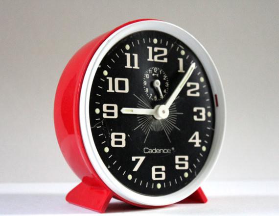 Vintage Retro Alarm Clock in Red