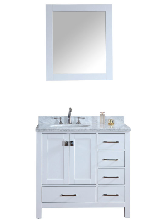 """Ari Kitchen and Bath - Bella 36"""" Solid Wood Pure White Bathroom Vanity and Mirror - Beautiful transitional style bathroom vanity by Ari Kitchen and Bath, a new brand manufacturing quality bathroom decor at affordable prices. The new 36"""" Bella comes with 1"""" edge Italian carrara marble top, backsplash, undermount CUPC basin, soft-closing drawers & doors, concealed drawer hinges, white framed mirror and pure white solid wood bathroom cabinet. Absolutely no MDF or Particle board on all of our bathroom vanities. All of our bathroom vanities come assembled by the manufacturer, minimal assembly required."""