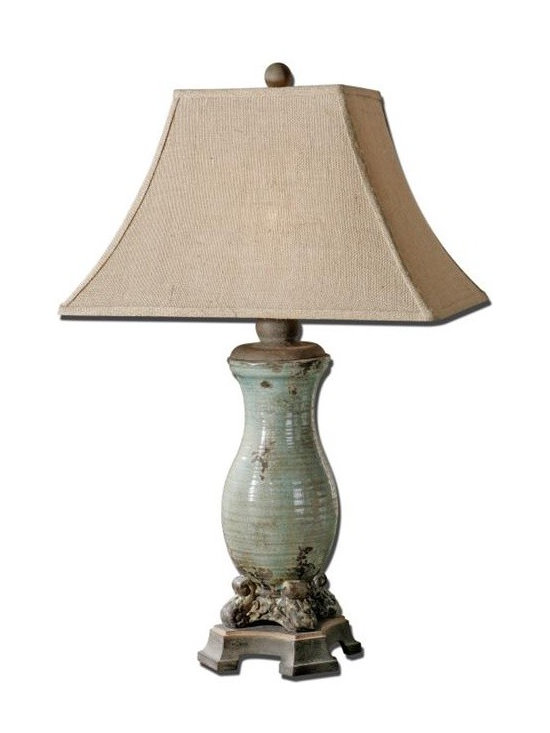 Uttermost Andelle - Ceramic base finished in a heavily distressed, crackled, light blue glaze with a light tan wash and rustic bronze details. The rectangle bell shade is a burlap fabric with natural slubbing.