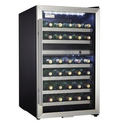 38 bottle Wine Cooler, Black Cabinet with Stainless Steel Door Frame modern-major-kitchen-appliances