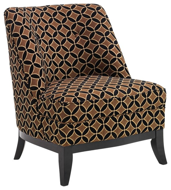 Contemporary Jester Chocolate Gold Armless Club Chair contemporary-armchairs-and-accent-chairs