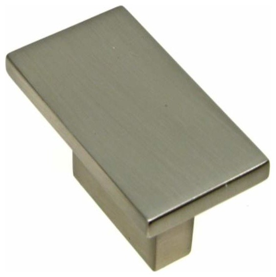 Richelieu contemporary metal rectangular knob 16mm nickel contemporary cabinet and drawer - Contemporary cabinet pulls ...