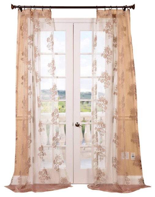 Francesca taupe patterned sheer curtain contemporary for Patterned sheer curtain panels
