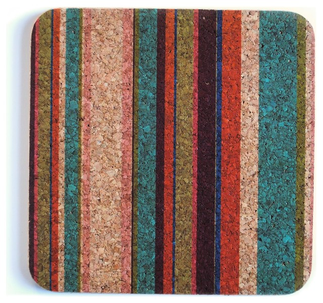 Square Trivet, Tropical Stripe contemporary-trivets