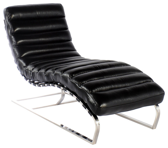 Vintage furniture classics leather ripple black full for Black chaise lounge indoor