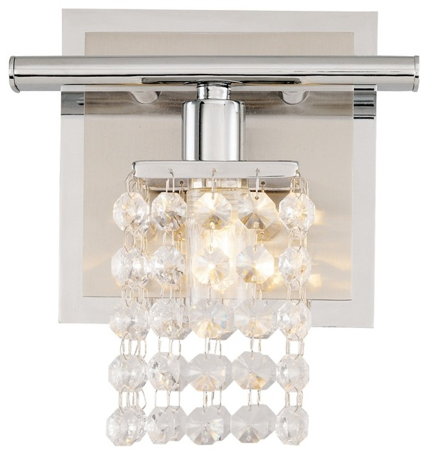 Contemporary Sparkle Chrome 6 Wide Crystal Bathroom Light Fixture Contemporary Wall